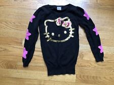 Hello Kitty Sweater Gold Black Sequins Girls Size S