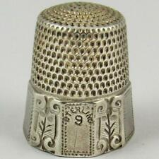 ANTIQUE SIMONS BROTHERS ENGRAVED BEANSTALK PANEL SIZE 9 STERLING SILVER THIMBLE