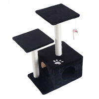 """27"""" Cat Tree Deluxe Condo Furniture Play Toy Scratch Post Kitten Pet House Black"""