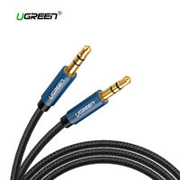 Cable audio estereo mini Jack 3,5mm doble macho HI-FI nylon UGREEN negro azul