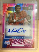 2017-18 OPTIC SIGNATURE SERIES 71 MICHAEL CAGE PINK PRIZM AUTO 22/25 CLIPPERS