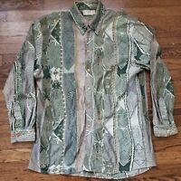 Coogi Nouveau Button Front Shirt Mens M Cosby Biggie Hip Hop Hipster Vintage