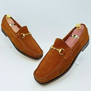 Gucci Mens Brown Suede Leather Horse Bit Loafers Shoes Size US 11.5 D 7100211