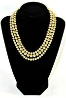 "Swirled Gold Metal Triple Strand Beaded Necklace Sarah Cov Signed 16"" Inch Vtg"