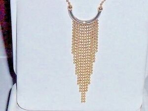 14K GOLD FANCY TWO TONE LARIAT NECKLACE CHAIN