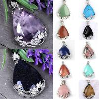 1x Gemstone Quartz Agate Amethyst Inlaid Flower Teardrop Reiki Healing Pendant