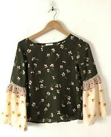 SIENNA SKY Womens XS Brown Cream Red Sheer Floral Top Blouse