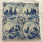 Set 4 Hand Painted  Blue & White Dutch Tiles