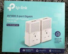 TP Link AV1000 2 Port Gigabit Passthrough Powerline Kit TL-PA7020P KIT - NEW