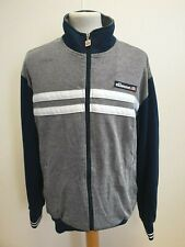H198 MENS ELLESSE GREY BLUE WHITE LONG SLEEVE FULL ZIP TRACKSUIT TOP UK M EU 50