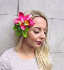Double Pink Green Orchid Flower Hair Clip Rockabilly 1950s Fascinator Lily 2970