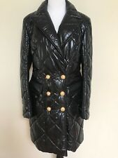 NWT Balmain Black Double Breasted Button Long Quilted Nylon Coat 44 US 12 $3505