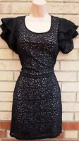 INTERNACIONALE RUFFLE ARMS BLACK FLORAL LACE STRETCH TUBE BODYCON DRESS 12 M