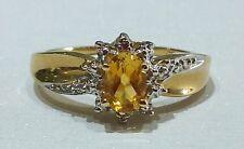 14k Yellow Gold Genuine Birthstone Ring November Citrine Vintage Antique Flower