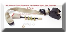 1 Kit Universal Strap Retractable & Adjustable Safety Seat Belt Beige 3 Point