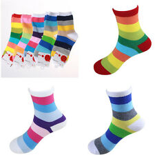 Neue 2Paare Baumwolle Socken Kinder Unisex gestreifte Multi Farbe Strumpf KAKI