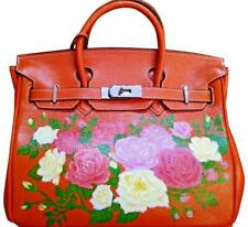 ORANGE ROSES HAND PAINTED GENUINE LEATHER BAG
