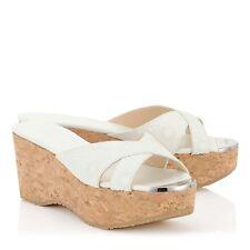 JIMMY CHOO 'Prima' Wedge Heel Sandals Shoes White Leather Size Uk 4 Eu 37