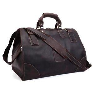 Large Genuine Leather Vintage Luggage Travel Camp Carry On Handbag Shoulder Bag