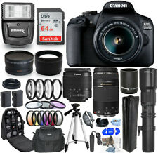 Canon EOS 2000D / Rebel T7 18-55mm + 75-300mm + 500mm 30 Piece Accessory Bundle