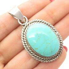 Vtg Mexico 925 Sterling Silver Large Real Turquoise Gemstone Pendant