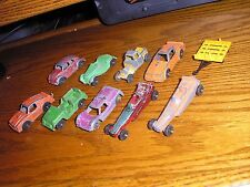 Lot D of 10 Vintage Tootsie Toy Cars Truck Dragster Hot Rod Jeep Trans Am VW