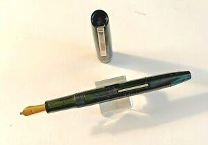 "Black Osmiroid ""65"" Fountain Pen with 23 CT Gold B2 Broad Stub Nib  BEAUTIFUL!!"
