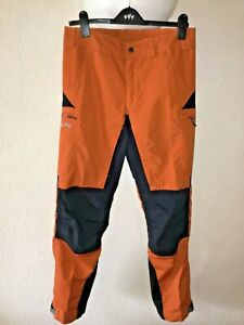 "Mens 34"" LUNDHAGS orange/black walking trousers boot lock system, waterproof"