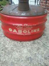 Vintage 1950s Phil Rite Push Button Gasoline 2 Gallon Metal Gas Can W/Spout Sign
