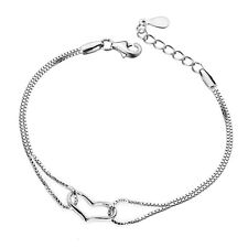 Women 925 Silver Plated Jewelry Love Heart Bracelet Bangle Charm Chain Gift R