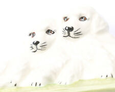 Two white puppies brooch, Ceramic, Handmade, Vintage 1980s