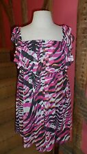 UK 20 Abstract Print Sleeveless Top in Cerise & Black & White Polyester by Evans