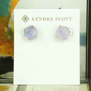 NWT Kendra Scott Ellms Amethyst Dichroic AB Stud Earrings Silver