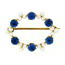 Antique Art Nouveau Oval 14k Gold GIA No Heat Montana Sapphire Pearl Brooch Pin