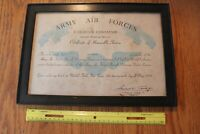 Army Air Force Command Aircraft Warning Certificate of Honorable Service Woman