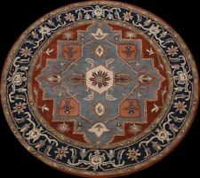 Geometric Traditional Oriental Area Rug Hand-Tufted Wool Carpet 6x6 ft ROUND