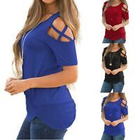 Womens Cold Shoulder T-Shirt Ladies Summer Casual Short Sleeve Tops Blouse LYZ