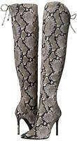 Jessica Simpson Londy Natural Snake Print Pointed Toe Stiletto Thigh High Boot