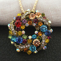 Women's Mixed Color Crystal Flower Pendant Betsey Johnson Necklace/Brooch