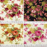 100% Cotton Fabric FQ Rose Floral Bouquet Retro Print Dress Quilting Crafts VK11