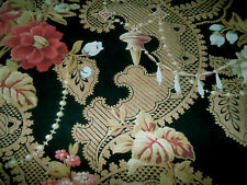 Antique 19thc French Roses Pearls Lace Cotton Fabric ~Pink Red Aubergine Black