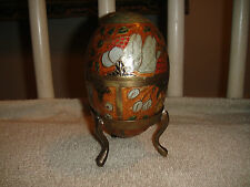 Stunning Brass Egg Made In India-Painted Egg W/Floral Designs-Unique-Trinket Box