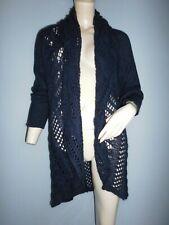 Long gilet/cardigan ouvert femme Taifun bleu pétrole 30% mohair taille 38/40