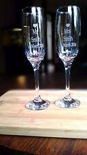 Toasting Wedding Champagne Flutes. Custom Engraved Set