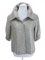Lafayette 148 New York Sz 4 Metallic Silver Swing Jacket Elegant Tweed Yarn