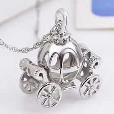 Men's Women's Solid 925 Sterling Silver Pendant  Pumpkin Carriage Charm Jewelry