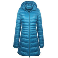 Women's 90% Duck Down Jacket Coat Ultralight Overcoat Long Hooded Puffer S-6XL