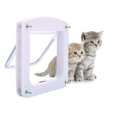 Cat Small Dog Flap Doors 4-Way Locking For Pets Entry Exit Controllable White