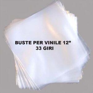 """100 BUSTE trasparenti protettive per copertine DISCHI VINILE LP 12"""" (33 GIRI)"""