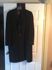 Vintage Mens Coat 100% Cashmere HUGHES & HATCHER Suffrin Black Overcoat Size 42
